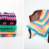 Retro Afghan Crochet Blanket - Hot Pink, Blue, and Yellow Neon Stripe Granny Square Full Large