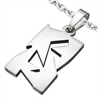 Stainless Steel Cut-out Geometric Tag Pendant