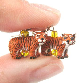 Detailed Bengal Tiger Shaped Porcelain Ceramic Animal Dangle Earrings | Handmade
