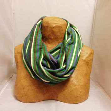 ON SALE Striped Knit Scarf - Hunter Green, Navy and Cream Chunky Infinity Scarf - Chunky Knit Circle Scarf - Loop Scarf, Eternity Scarf