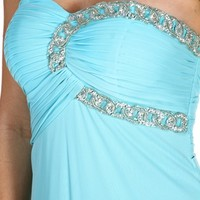Maegan- Mint Rhinestone Long Prom Dress