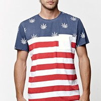 On The Byas MJ America Pocket Crew T-Shirt - Mens Tee - White/Red/Navy