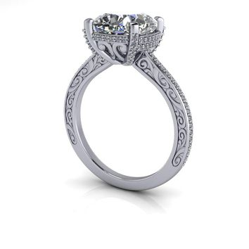 Vintage Style Diamond Engagement Ring Setting - Russian Brillian 95984a075