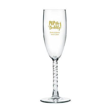 Twisted Stem Champagne Glasses - Personalized (Pack of 1)