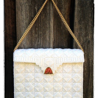 Fabulous Handmade Knit White Purse with Golden Chain and Clasp