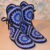 Wool Crochet Slippers, Crochet Slipper Boots, Wool House Shoes, Winter Boots, Hand-Knitted Wool Socks, Knit Slippers, Handmade Wool Slippers