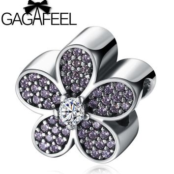 GAGAFEEL Primrose Flower DIY Charm Beads Fit Pandora Bracelet White Pink Crystal Floral Real Pure 925 Silver Beads For Women