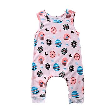 Easter Baby Clothing Cute Newborn Baby Boys Girl Cotton Sleeveless Romper Summer Fashion Easter Egg Print Jumpsuit Playsuit
