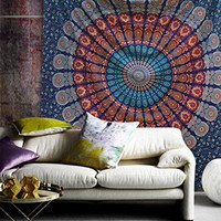 Blue Queen Indian Mandala Wall Tapestries, Psychedelic Indian Tapestry Bedding, Bohemian Wall Hanging, Floral Print Bed Cover