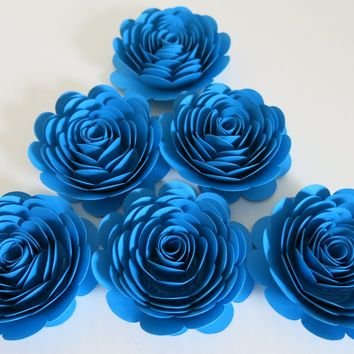 Bright Blue Paper Flowers, set of 6 Large roses, flowers table decoration, Bridal shower decor, Wedding centerpiece, graduation or birthday party 3""