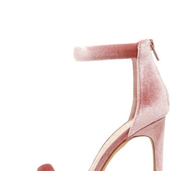 Everyday Celebration Mauve Velvet Ankle Strap Heels