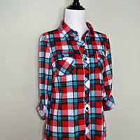 """Country Backwoods"" Plaid Flannel Top - Red/Teal"