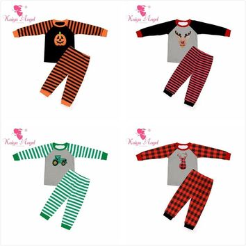 Kaiya Angel Halloween Orange Pumpkin Girls Boutique Outfits Christmas Deer Red Black Plaid Toddler Boys Fall Winter Clothing