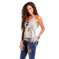 Black tie dye knit tank top