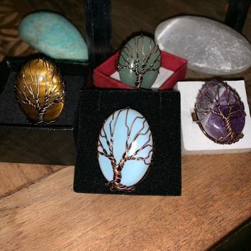 Antique Copper, Brass & Stone 'Tree of Life' Rings Size: OS
