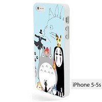 Vc 76 Handmade Finely Printed- Totoro and All Ghibli Character Animated -Hard Plastic Framed White Fit for Iphone 5/5s