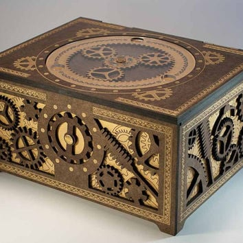 Steampunk Storage Box Features Working Planetary by DapperDevil
