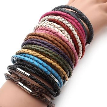 New Fashion 100% Genuine Braided leather bracelet Men Bracelet for Women Jewelry with Magnetic Clasps Charm Bracelet