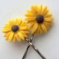 Sunflower Bobby Pins - Decorative Bobby Pins - Flower Hair Pins - Fall Hair Accessories- Hair Pins for Women - Bobby Pins for Teen Girl