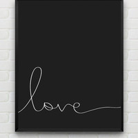 Valentines Day Printable Art 8x10 Black and white print nursery art, Love printable wall art decor, instant download monochrome print
