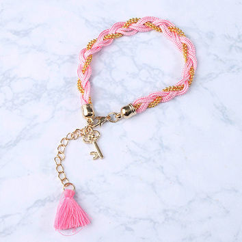 Braided Key Tassle Bracelet