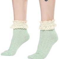 RUFFLES AND RIBBED CROCHET LACE SOCKS MINT