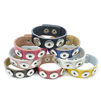 Fashion Design Colorful Leather Snap Button Bracelet Fit 18MM Snap Button Jewelry