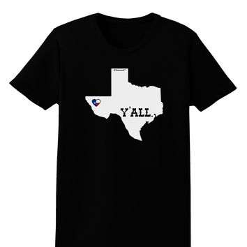 Texas State Y'all Design with Flag Heart Womens Dark T-Shirt by TooLoud