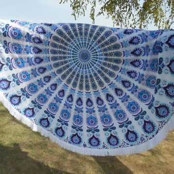 Bohemian Beach Throw Mandala, Beach Decor, Picnic Blanket, Wall tapestry, round mandala, fringes, summer time, eco friendly 3060