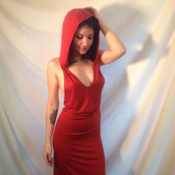 hooded dress - backless dress - hooded backless dress - red dress - handmade dress