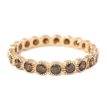 0.93ct Round Red Diamonds in 18K Rose Gold Milgrain Bezel Wedding Eternity Band Ring