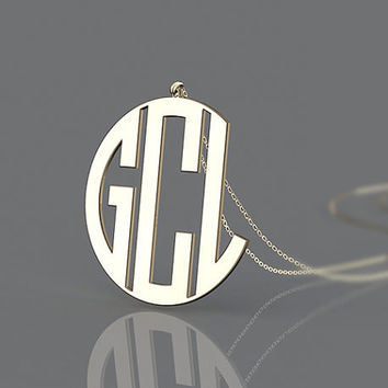 Simple style monogram necklace customized--1.5 inch monogram necklace jewelry for birthday
