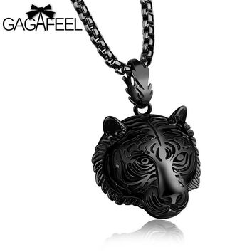 GAGAFEEL Lion Head Pendant Necklace For Men Punk Hip Hop Jewelry Stainless Steel Gold/Silver/Black Color Accessories Friendship