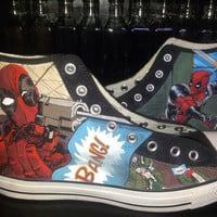 Deadpool Hand Painted Converse Shoes-Custom Painted Shoes