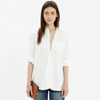 RIVET & THREAD COLLARLESS WORKSHIRT IN PURE WHITE