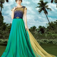 Turquoise and Blue Embroidered Anarkali Suit