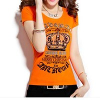 Casual Fashion Retro Crown Letter Print Short Sleeve Couple T-shirt Top Tee