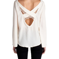 Criss Cross Lace Chiffon Blouse