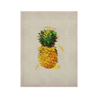 "Oriana Cordero ""Slice of Summer"" White Yellow KESS Naturals Canvas (Frame not Included)"