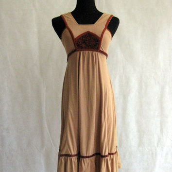 70s Dress, Vintage Jody T of California Brown and Tan Faux Suede Boho Pinafore Style with Ruffled Hem Size XS Extra to S Small