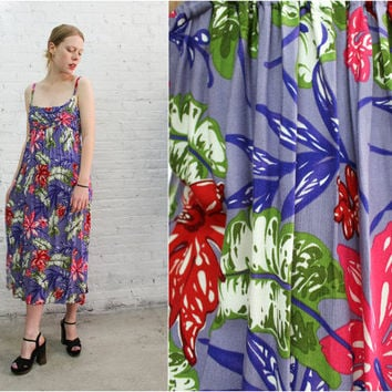 tropical beach dress / spaghetti strap dress / floral rayon babydoll dress / empire waist tent trapeze