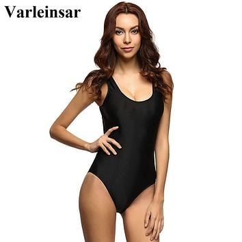 S-3XL Plus Size Padded Bather 2018 Sexy Scoop back Female Swimsuit one piece swimwear women monokini bathing suit swim wear V128