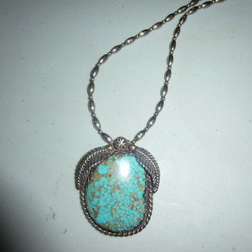 Vintage Native American Turquoise Spiderweb Matrix Pendant on Beaded Chain Necklace Signed Z