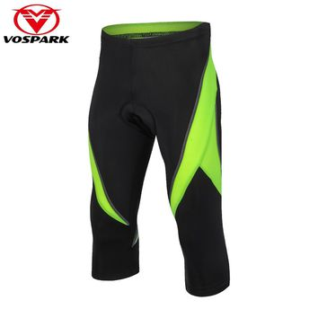 VOSPARK Summer Men's 3/4 Cycling Pants with Gel Pad Women Cycling Tights Clothing MTB Bike Bicycle Shorts Knickers Sportswear