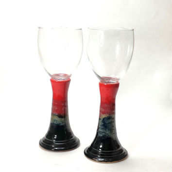 Pair of Ceramic Pottery Wine Glasses,Pottery Goblet,ceramic wine glass,ceramic gobletts,red pottery,ready to ship,unique wine glasses