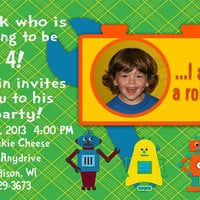 Lego Robot Birthday Invitation - Customized Thank You Card - Digital File - Personal Use Only