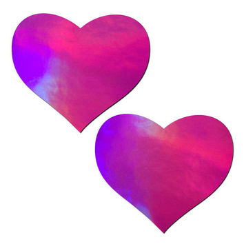 Pastease Pink Hologram Heart Pasties