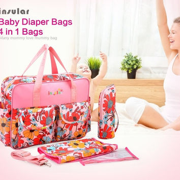 4 Pieces a Set High quality Retail Flowers Printed Multifunctional Nappy Mummy Bag Maternity Handbag Diaper Bags baby Tote Organizer = 1946061316