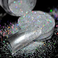 5g Box Laser Silver Rainbow Powder Acrylic UV Nail Art Glitter Dust Eye shadow Makeup Nail Salon Manicure Decoration N32