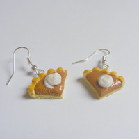 Scented or Unscented Halloween Pumpkin Pie Miniature Food Earrings - Miniature Food Jewelry